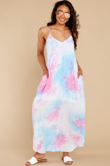 3 Part Of Your Charm Pink Multi Tie Dye Maxi Dress at reddress.com