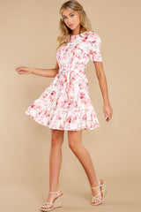 2 Curious Hearts Pink Floral Print Dress at reddress.com