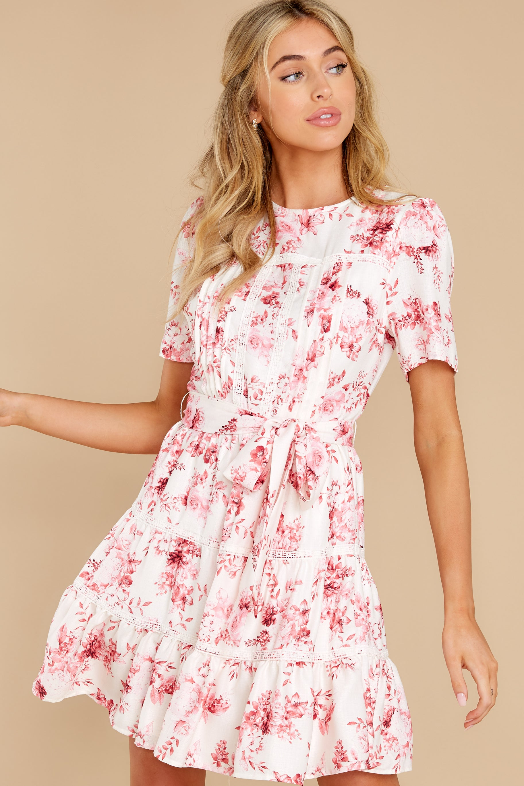 5 Curious Hearts Pink Floral Print Dress at reddress.com