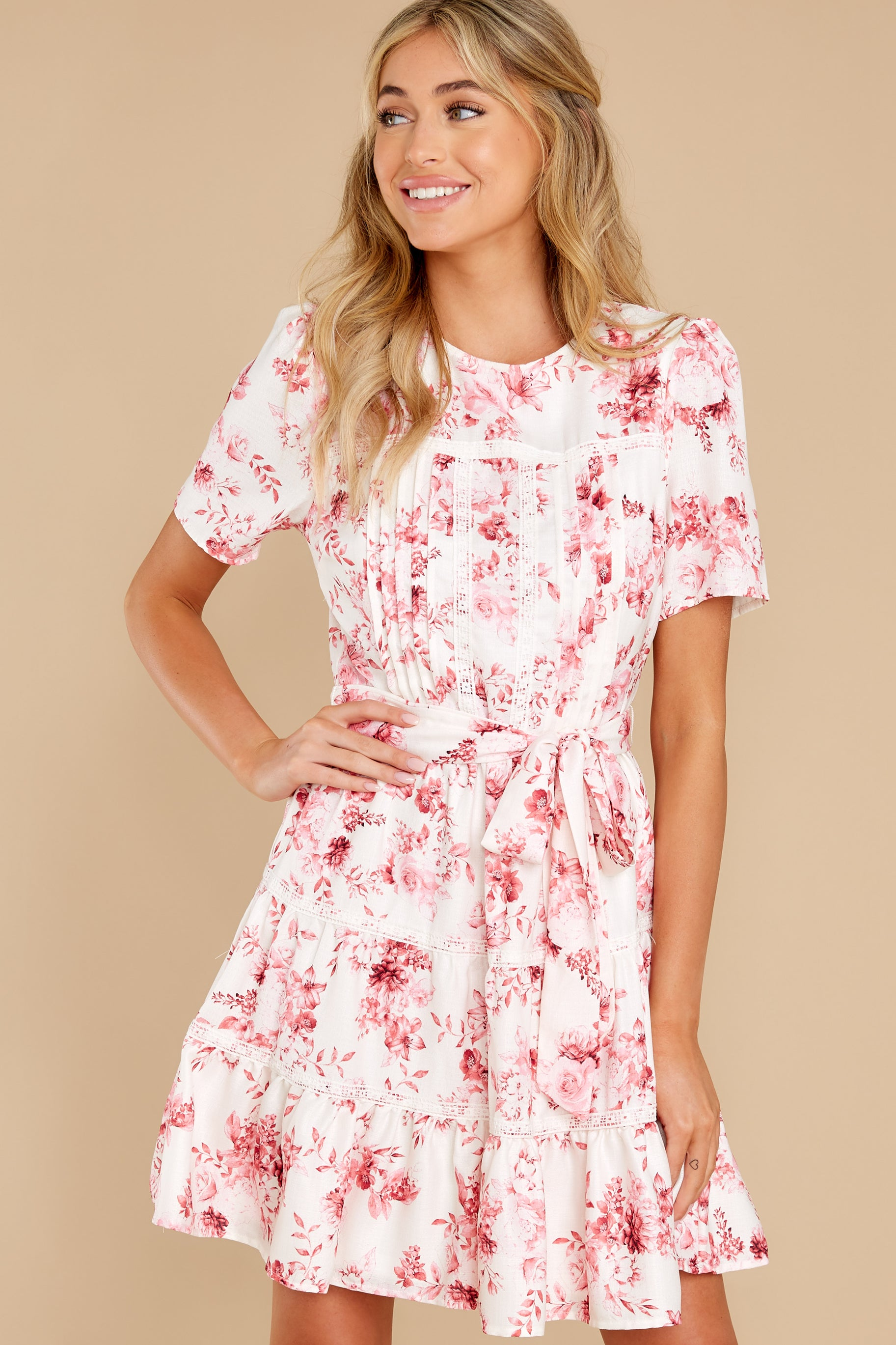 1 Curious Hearts Pink Floral Print Dress at reddress.com