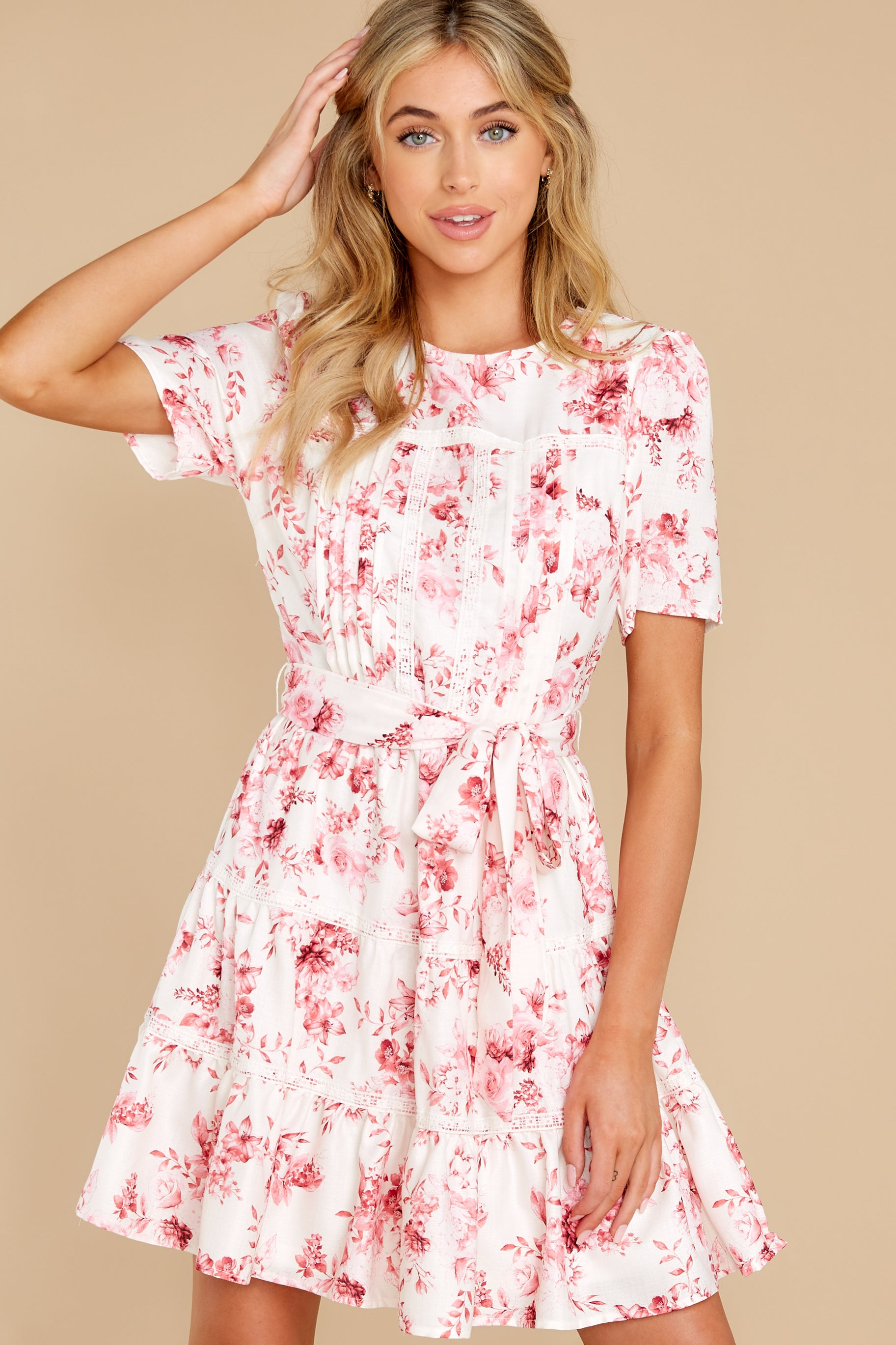 7 Curious Hearts Pink Floral Print Dress at reddress.com