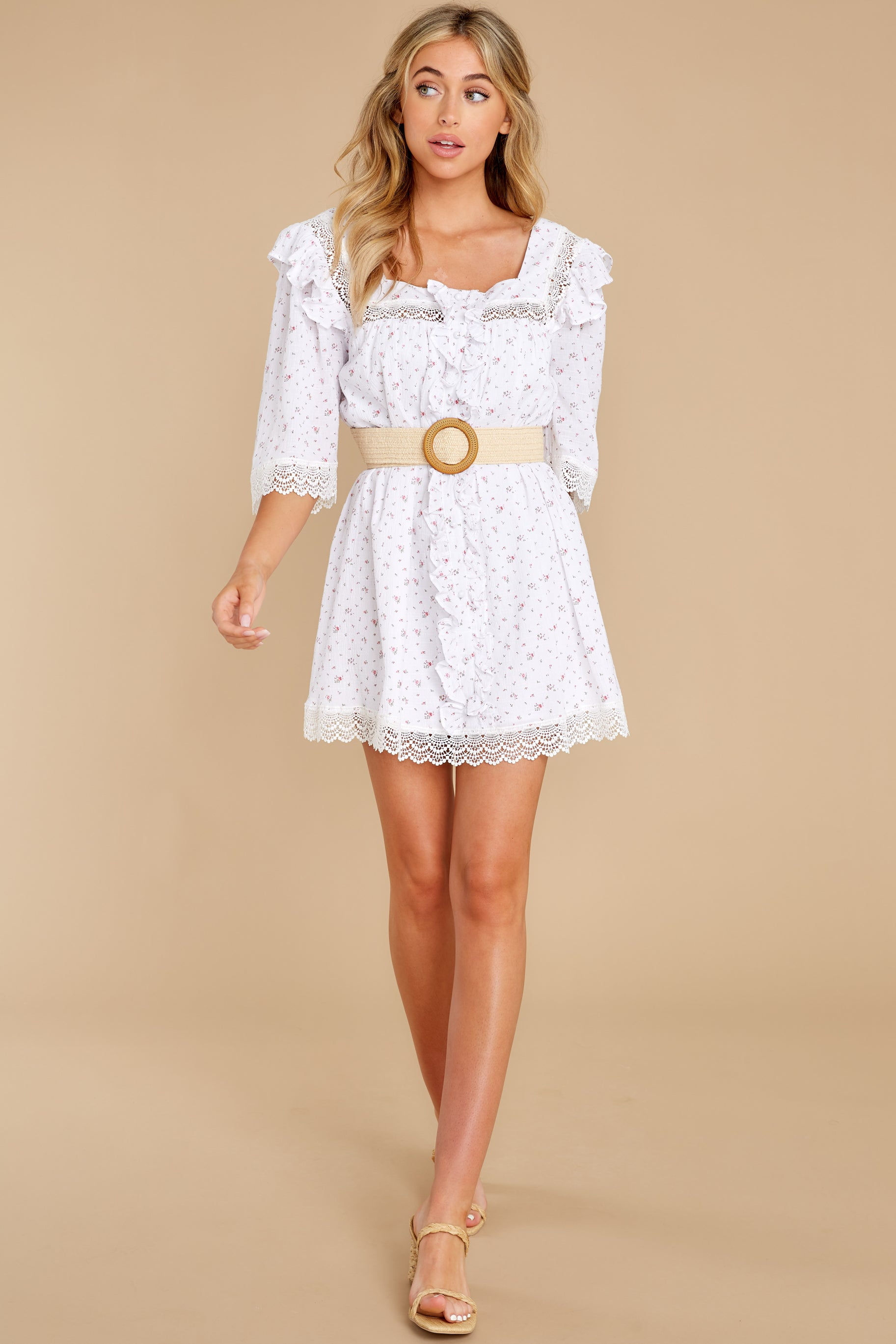 4 A Good Romance White Print Dress at reddress.com