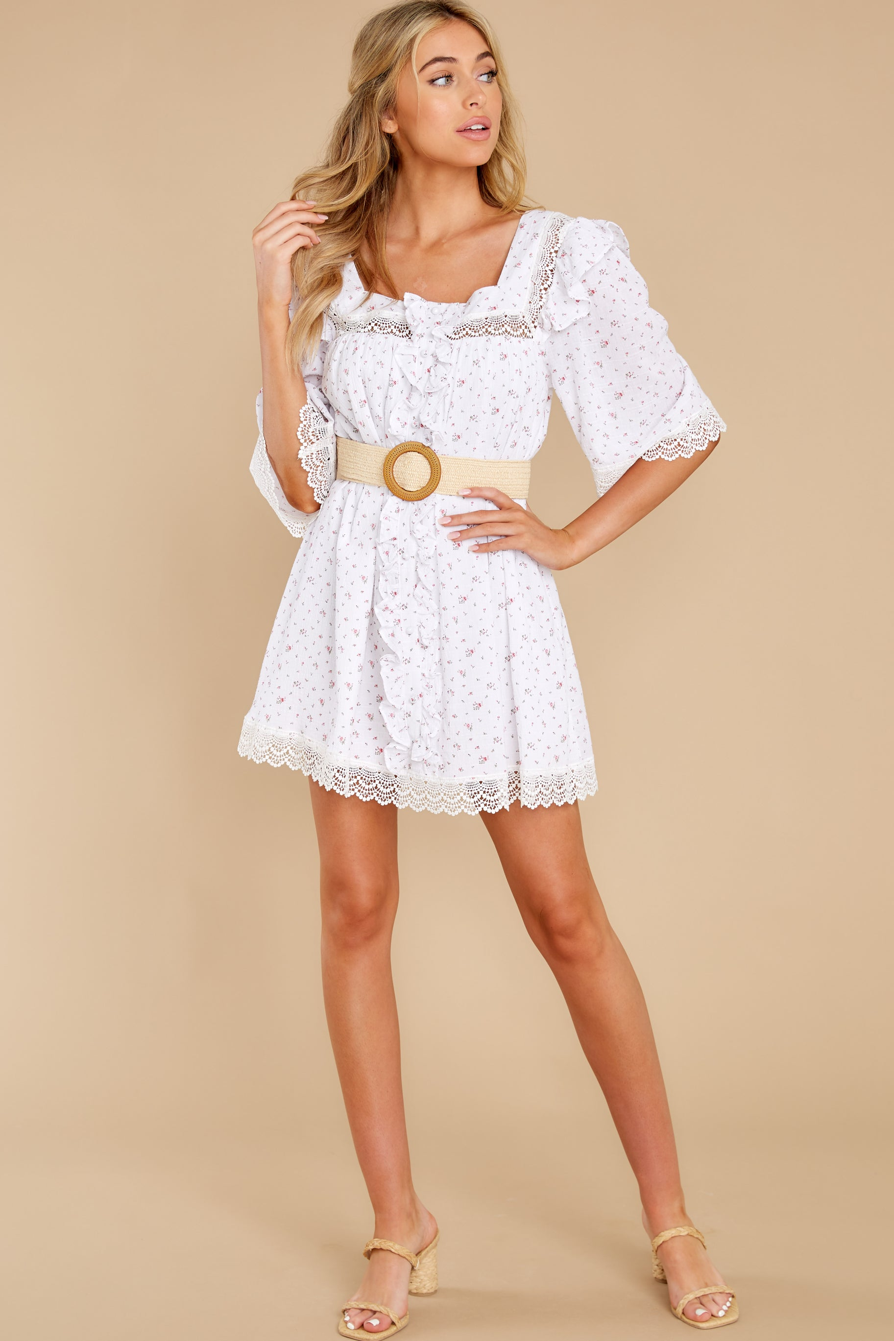 5 A Good Romance White Print Dress at reddress.com
