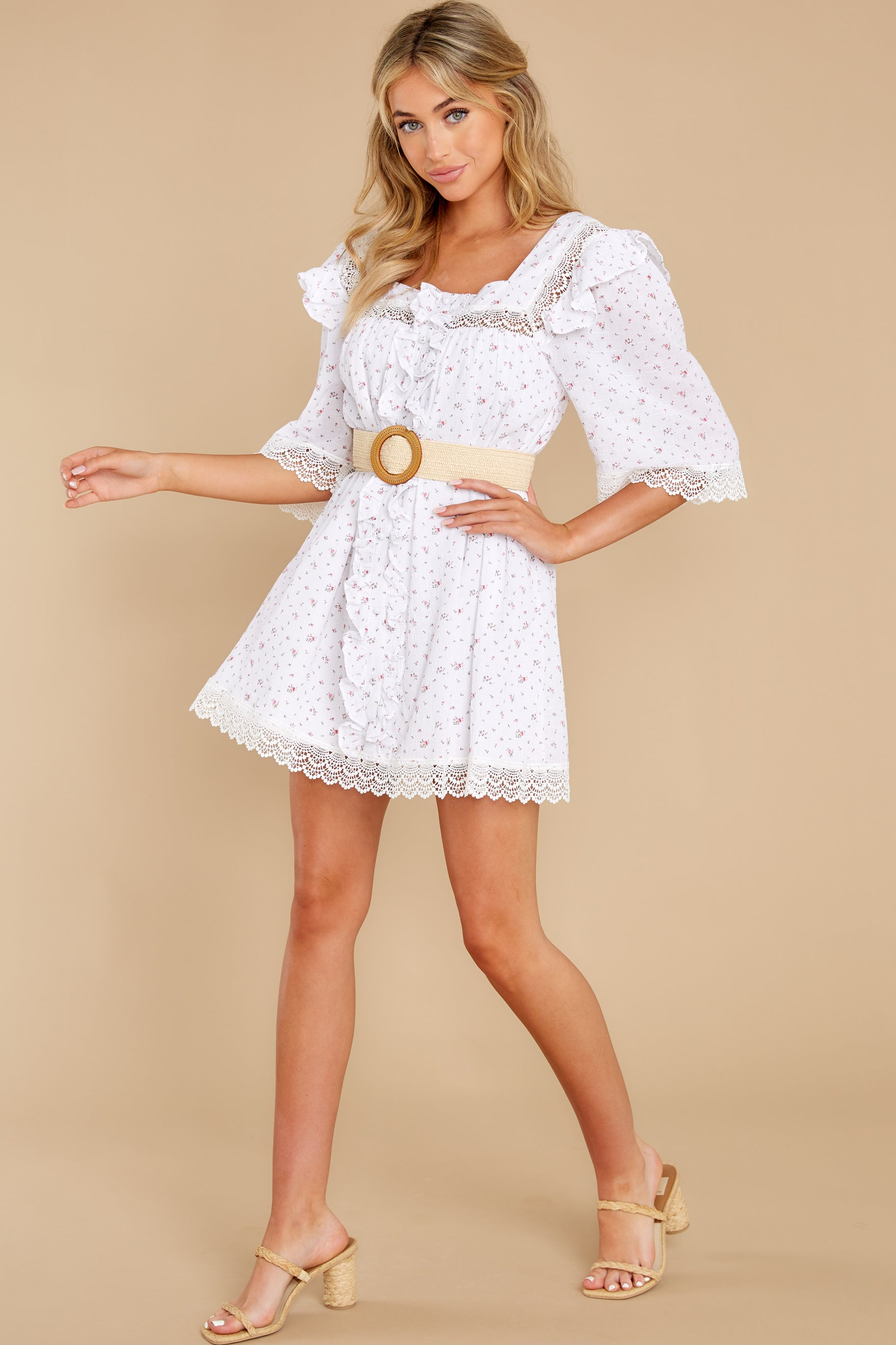 3 A Good Romance White Print Dress at reddress.com