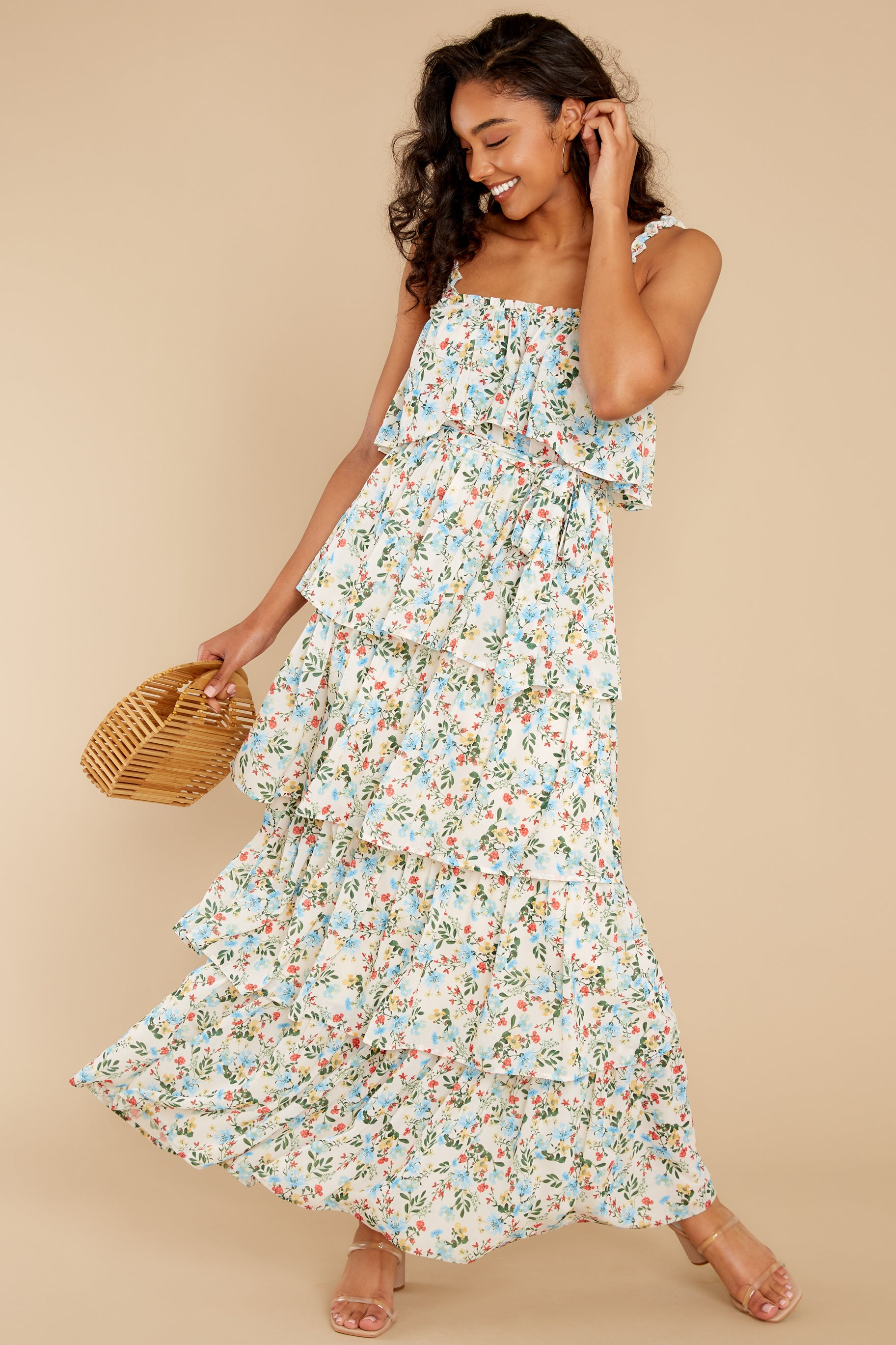 1 Magical Means Ivory Floral Print Maxi Dress at reddress.com