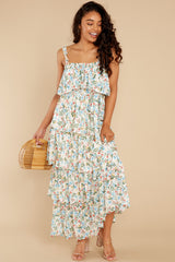 2 Magical Means Ivory Floral Print Maxi Dress at reddress.com