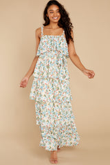 4 Magical Means Ivory Floral Print Maxi Dress at reddress.com