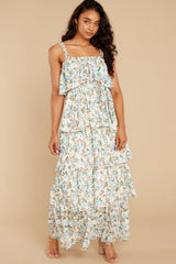 5 Magical Means Ivory Floral Print Maxi Dress at reddress.com