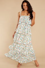 6 Magical Means Ivory Floral Print Maxi Dress at reddress.com
