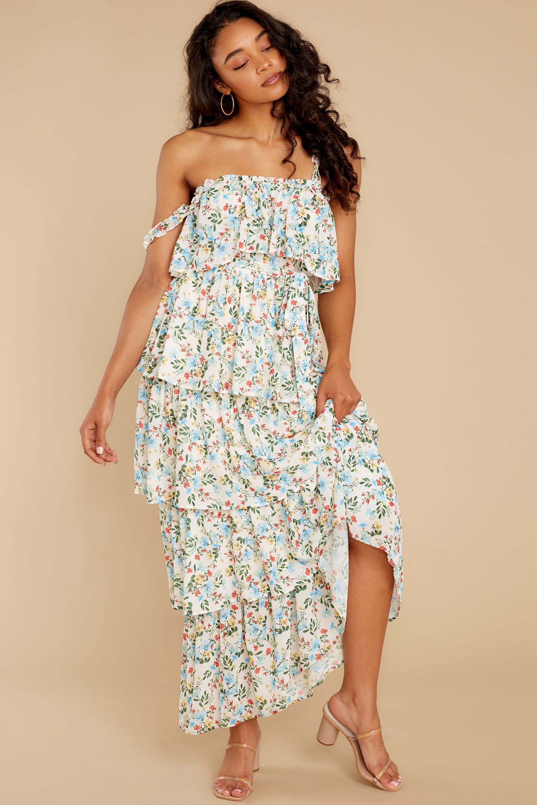 7 Magical Means Ivory Floral Print Maxi Dress at reddress.com