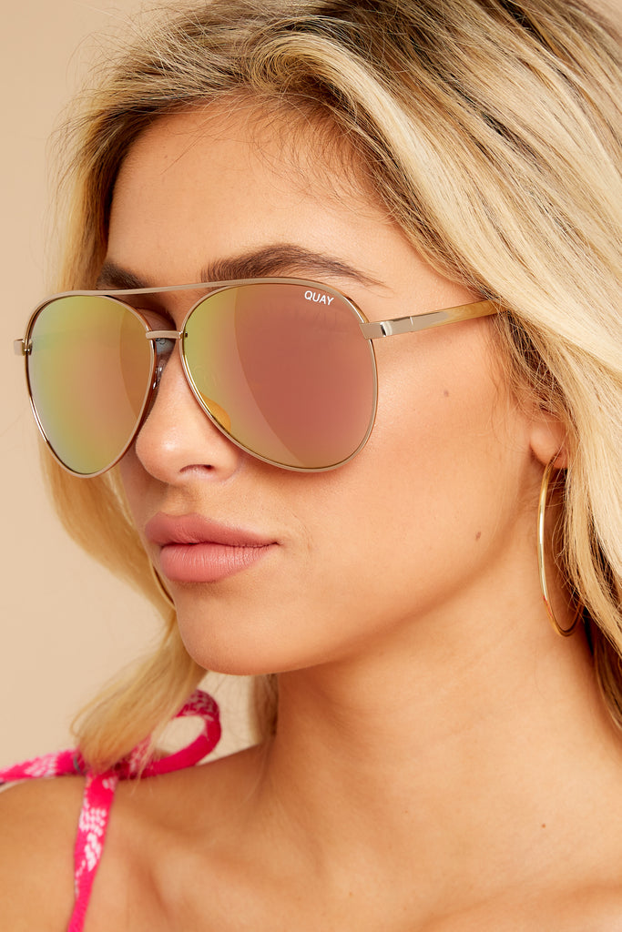 French Kiss Clear Rose Sunglasses
