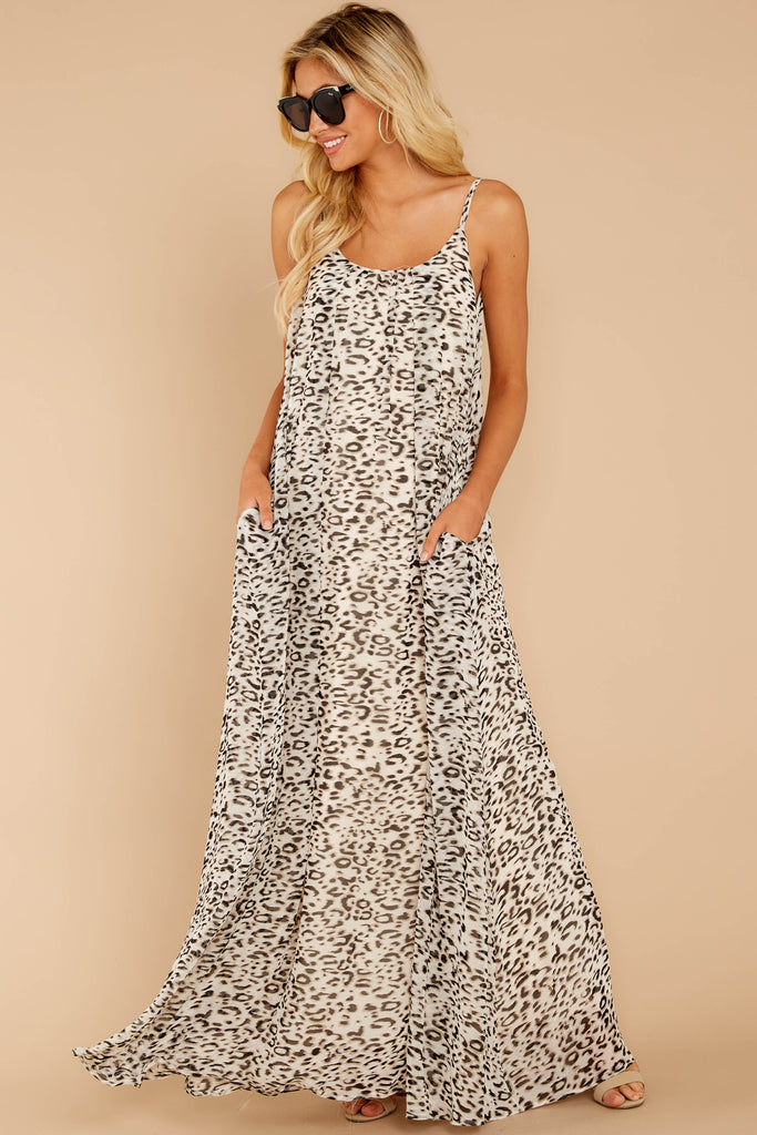 1 To Your Own Beat Beige Print Maxi Dress at reddressboutique.com