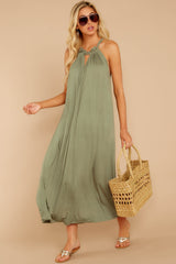My Itinerary Sage Green Midi Dress