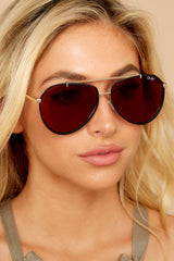 3 Dirty Habit Gold Brown Sunglasses at reddress.com