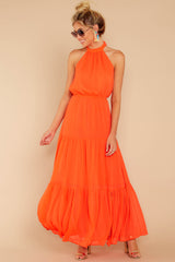 2 Encounter With Fate Bright Orange Maxi Dress at reddressboutique.com
