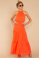 3 Encounter With Fate Bright Orange Maxi Dress at reddressboutique.com