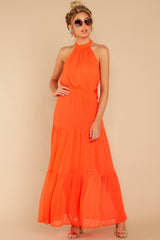 4 Encounter With Fate Bright Orange Maxi Dress at reddressboutique.com