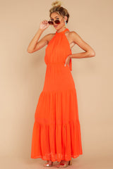 5 Encounter With Fate Bright Orange Maxi Dress at reddressboutique.com