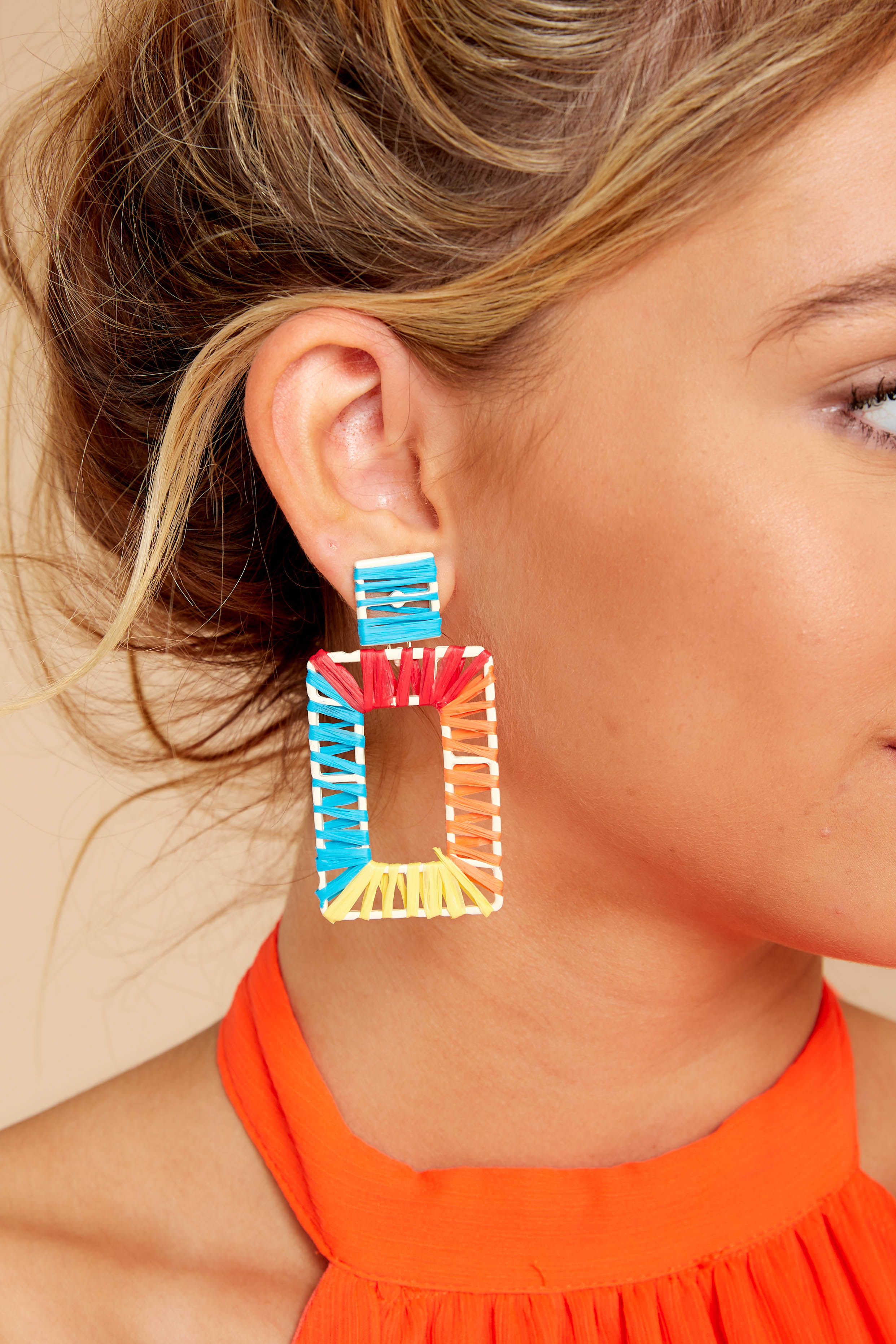 1 Party Of Two Rainbow Earrings at reddressboutique.com