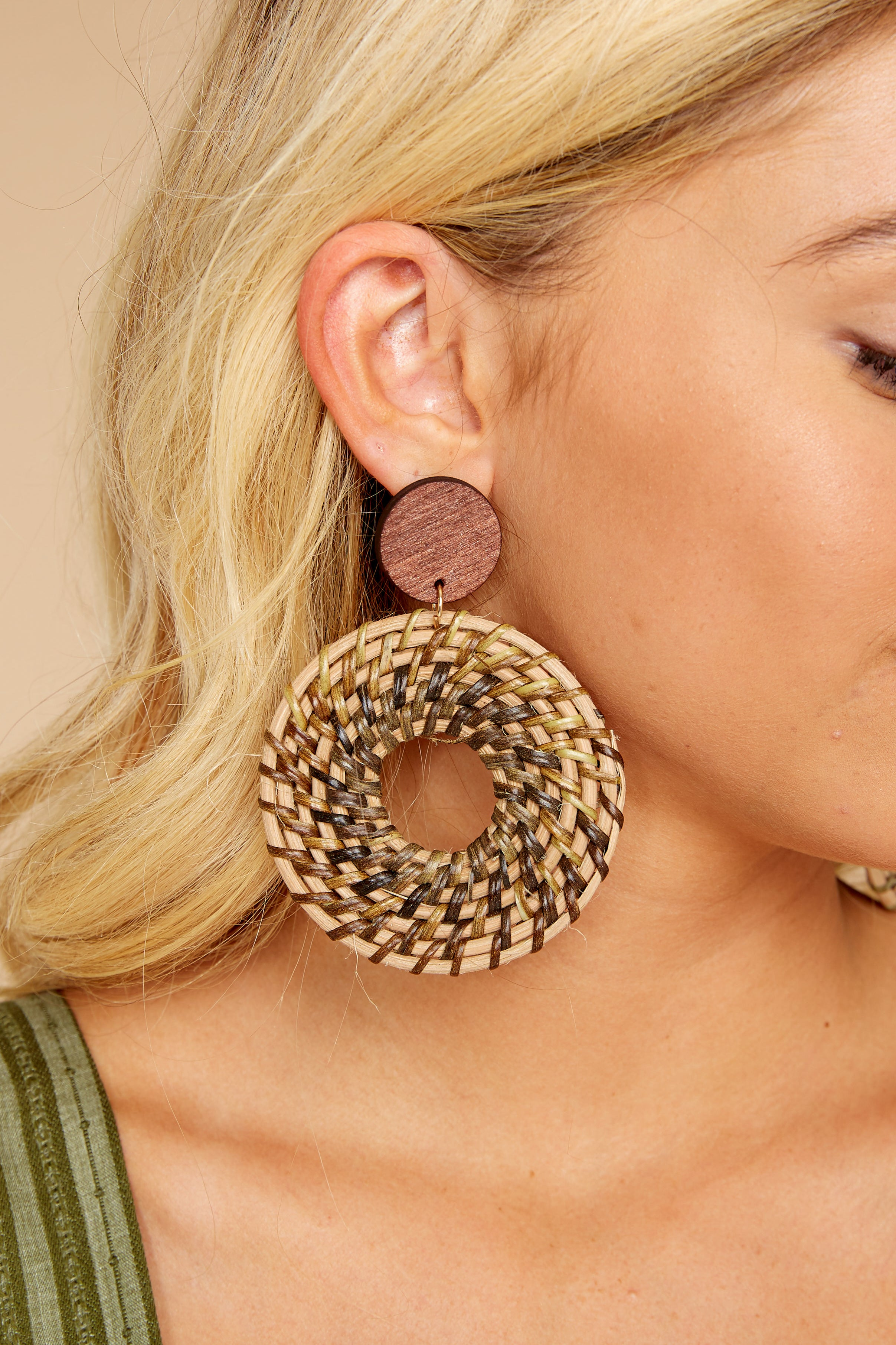 1 Really Into This Tan Woven Earrings at reddressboutique.com
