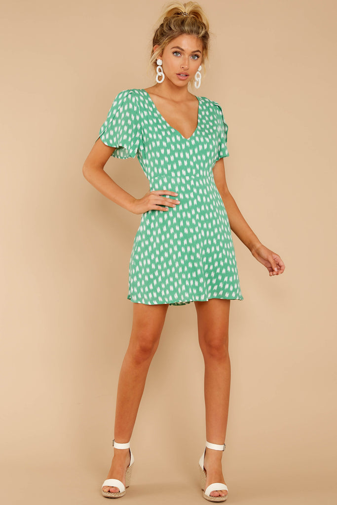 1 Moments Of Leisure Light Green Floral Print Dress at reddressboutique.com