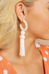 Fighting Silence White Beaded Tassel Earrings