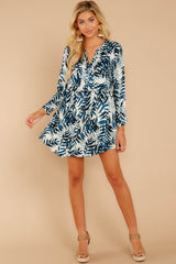 1 Welcome To Paradise Blue Palm Print Dress at reddressboutique.com