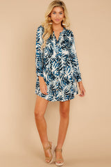 2 Welcome To Paradise Blue Palm Print Dress at reddressboutique.com