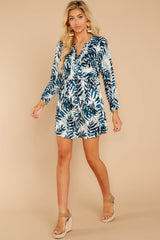 3 Welcome To Paradise Blue Palm Print Dress at reddressboutique.com
