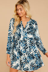 6 Welcome To Paradise Blue Palm Print Dress at reddressboutique.com