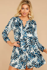4 Welcome To Paradise Blue Palm Print Dress at reddressboutique.com