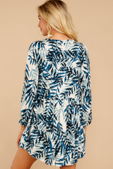7 Welcome To Paradise Blue Palm Print Dress at reddressboutique.com