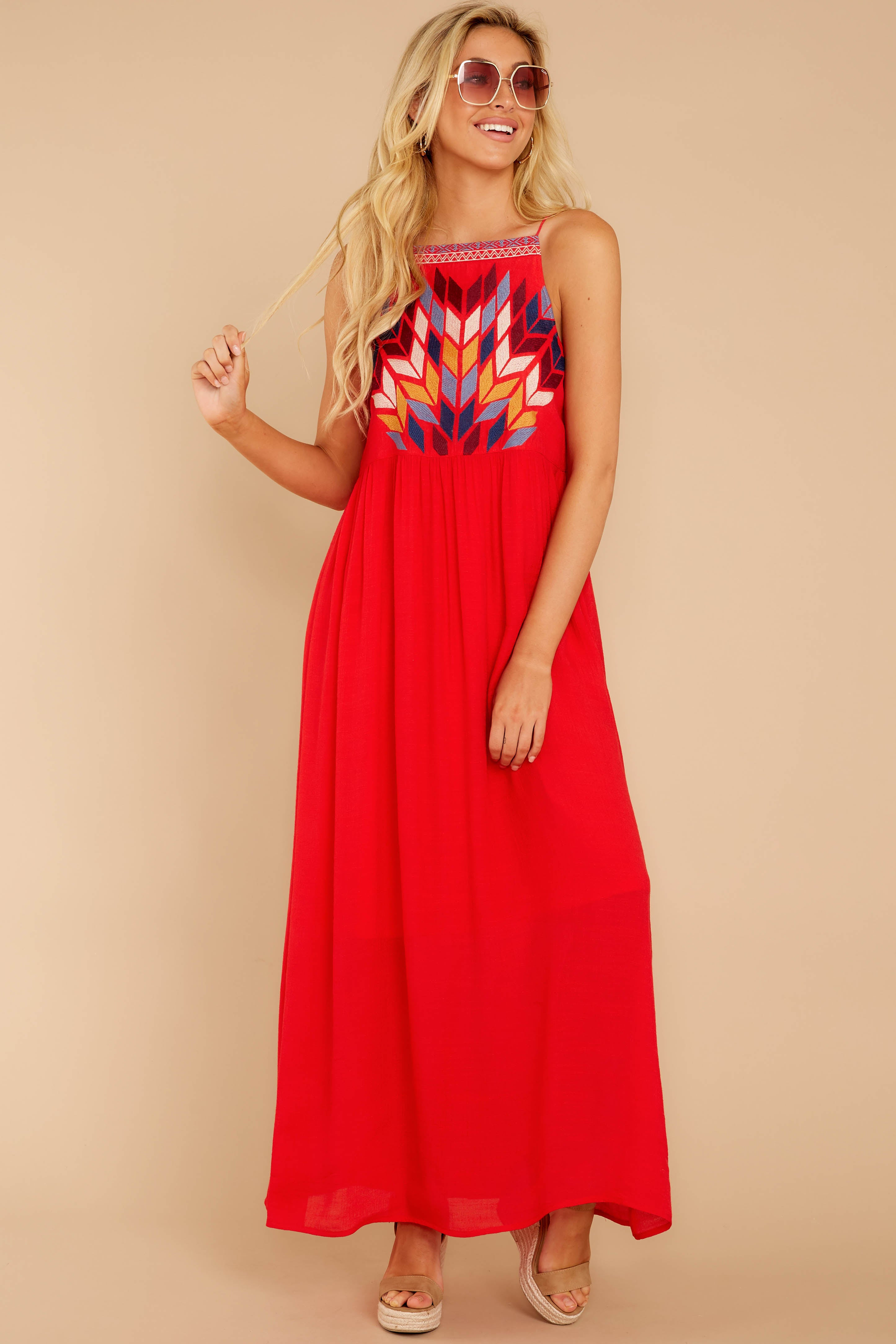 2 Kaleidoscope View Red Embroidered Maxi Dress at reddressboutique.com