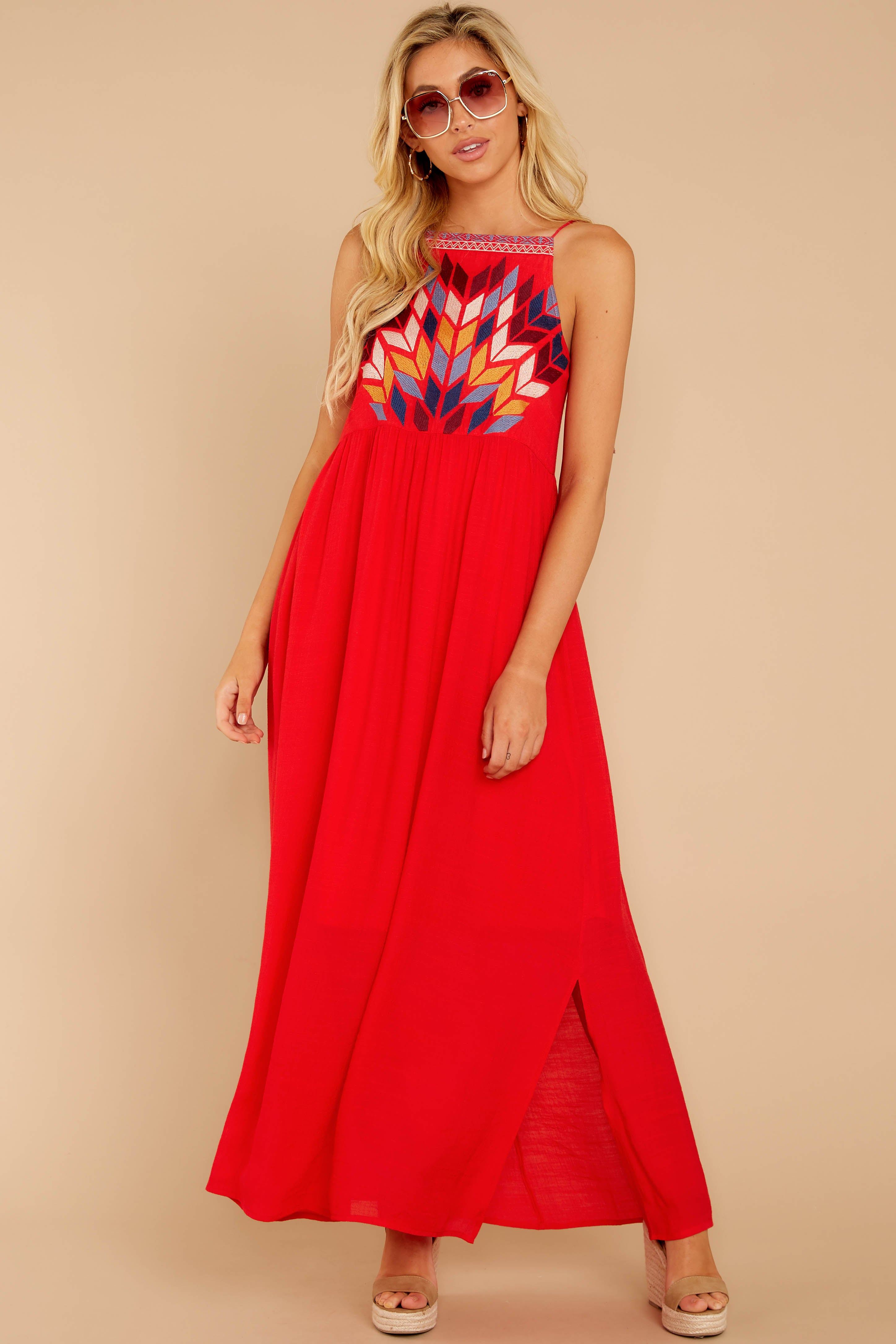 3 Kaleidoscope View Red Embroidered Maxi Dress at reddressboutique.com