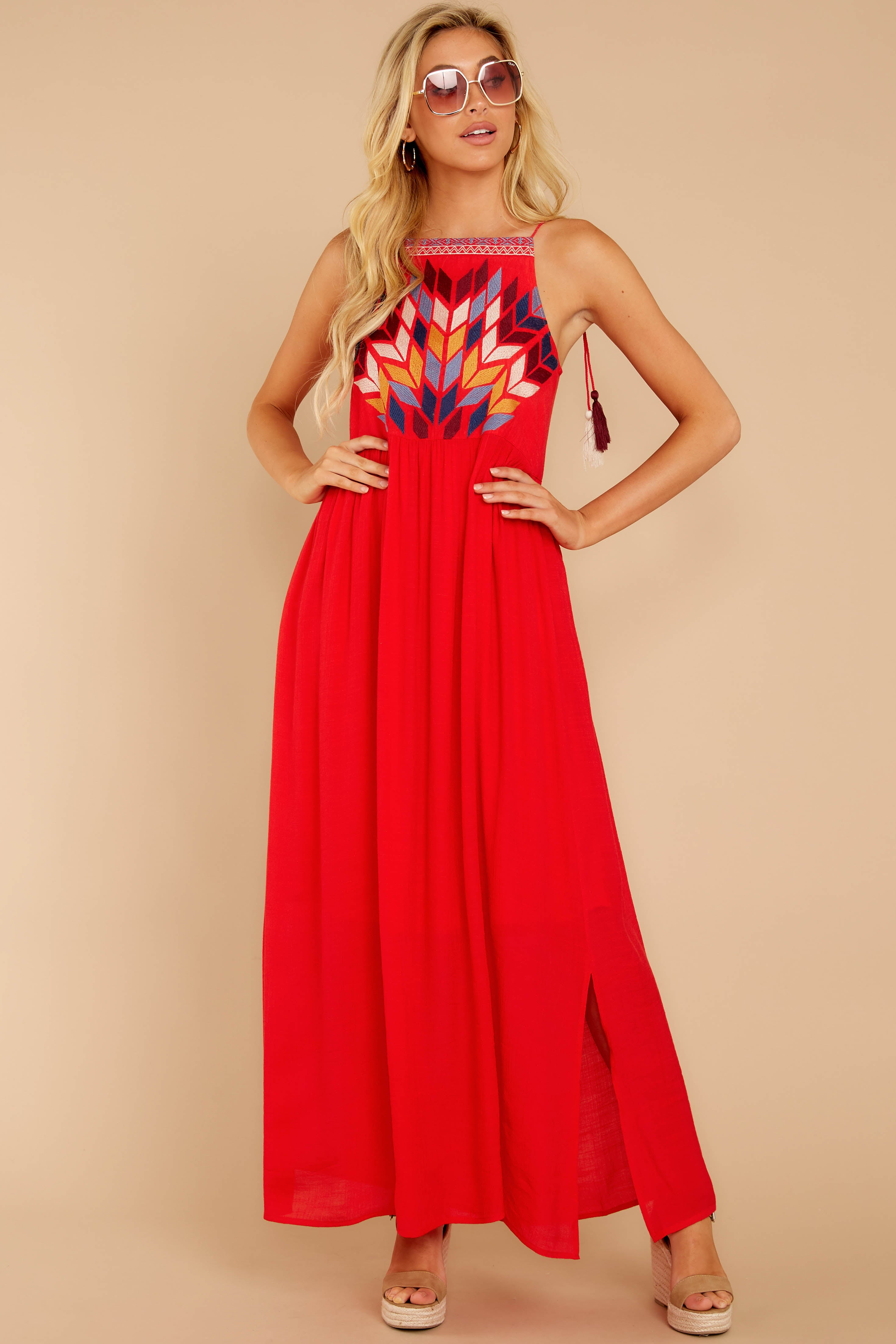 4 Kaleidoscope View Red Embroidered Maxi Dress at reddressboutique.com