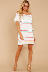 3 Zig To My Zag White Off The Shoulder Dress at reddressboutique.com