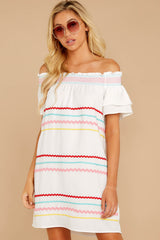 4 Zig To My Zag White Off The Shoulder Dress at reddressboutique.com