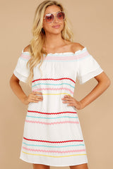 5 Zig To My Zag White Off The Shoulder Dress at reddressboutique.com