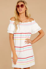 6 Zig To My Zag White Off The Shoulder Dress at reddressboutique.com
