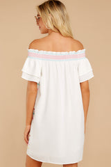 7 Zig To My Zag White Off The Shoulder Dress at reddressboutique.com