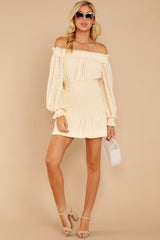 2 Heart In Havana Vanilla Cream Off The Shoulder Dress at reddressboutique.com