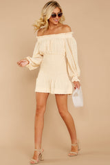 3 Heart In Havana Vanilla Cream Off The Shoulder Dress at reddressboutique.com