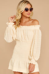 4 Heart In Havana Vanilla Cream Off The Shoulder Dress at reddressboutique.com