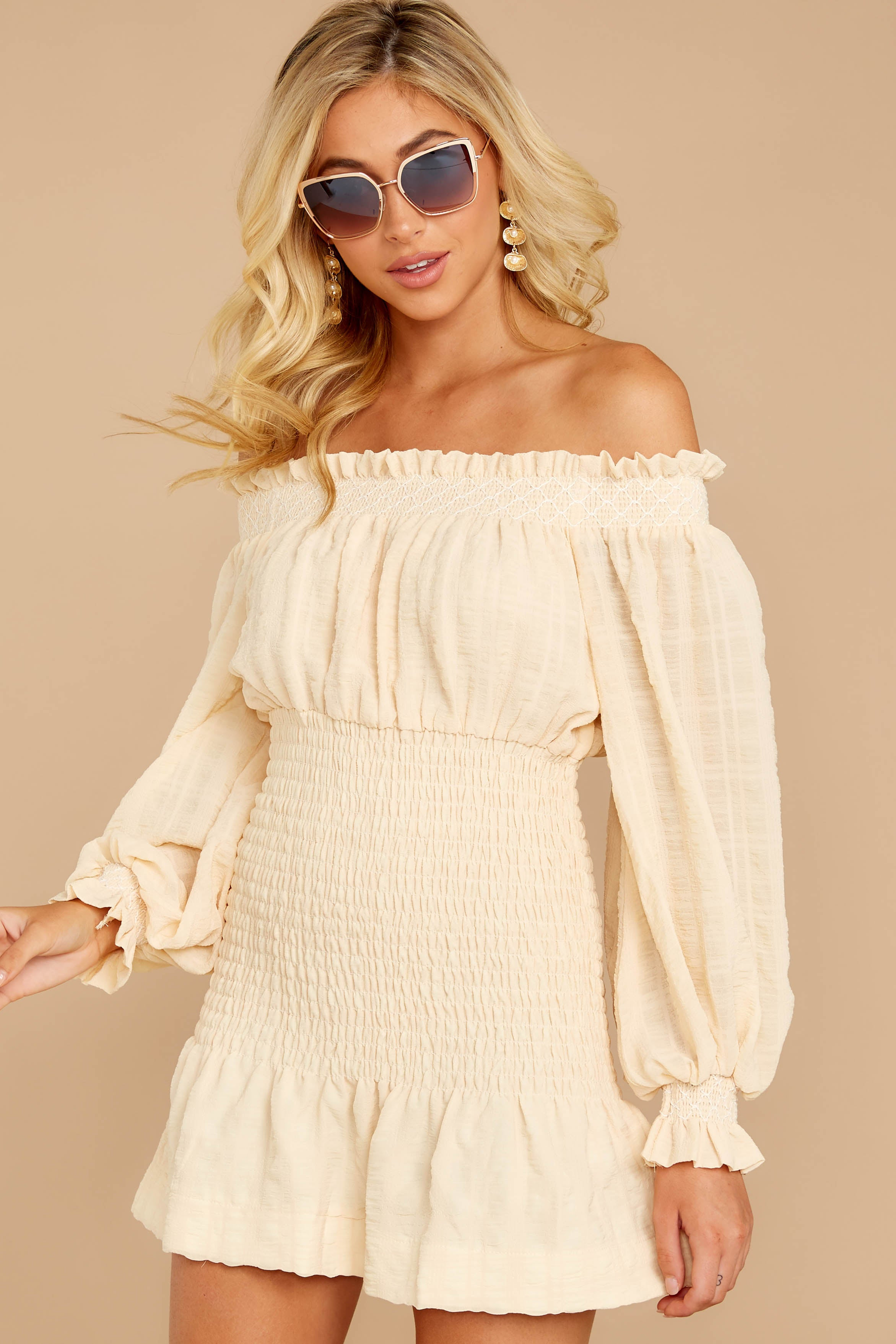 5 Heart In Havana Vanilla Cream Off The Shoulder Dress at reddressboutique.com