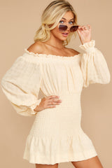 6 Heart In Havana Vanilla Cream Off The Shoulder Dress at reddressboutique.com