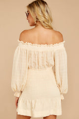 7 Heart In Havana Vanilla Cream Off The Shoulder Dress at reddressboutique.com