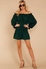 2 Heart In Havana Dark Green Off The Shoulder Dress at reddressboutique.com