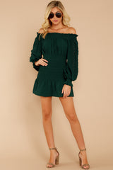 3 Heart In Havana Dark Green Off The Shoulder Dress at reddressboutique.com