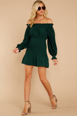 4 Heart In Havana Dark Green Off The Shoulder Dress at reddressboutique.com