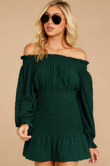 5 Heart In Havana Dark Green Off The Shoulder Dress at reddressboutique.com
